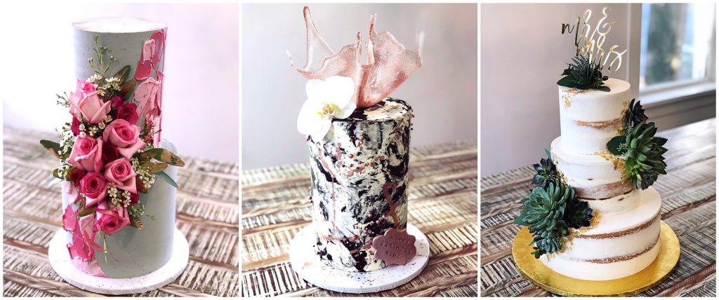 Three wedding cakes made by Cakes by Gene.