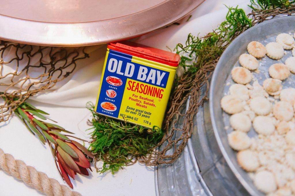 Old Bay seasoning on display at a wedding reception.