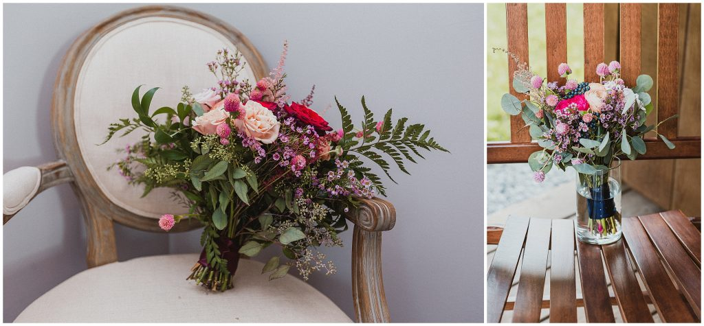 A wedding flower arrangement by Meredith Wallace of Rocking Bird Flower Co. sits on an antique chair.
