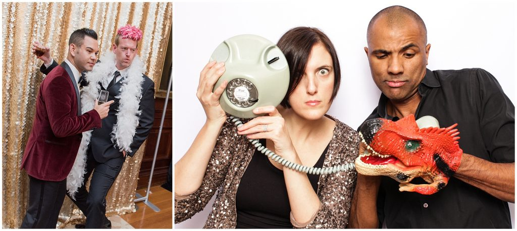 The owners of SnapBash Photobooths, Lucy and David, pose pose with an antique photo and dragon prop.