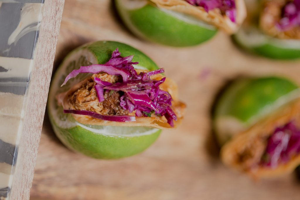 Pulled pork in a lime with cabbage made by Well Dunn Catering at the Fathom Gallery in Washington, DC.