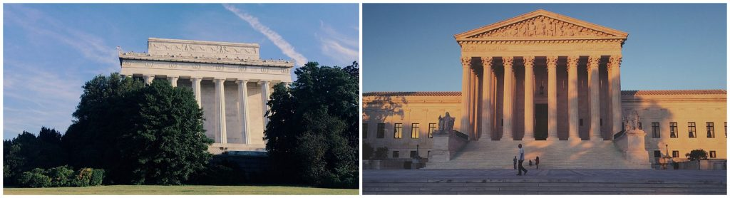 The Supreme Court and Lincoln Memorial