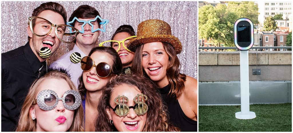 Wedding guests using the photobooth provided by Jon Fleming Photobooths.