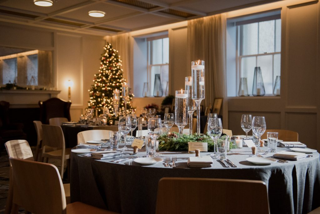 A Christmas wedding tablescape in the Line Hotel DC Banneker Ballroom.