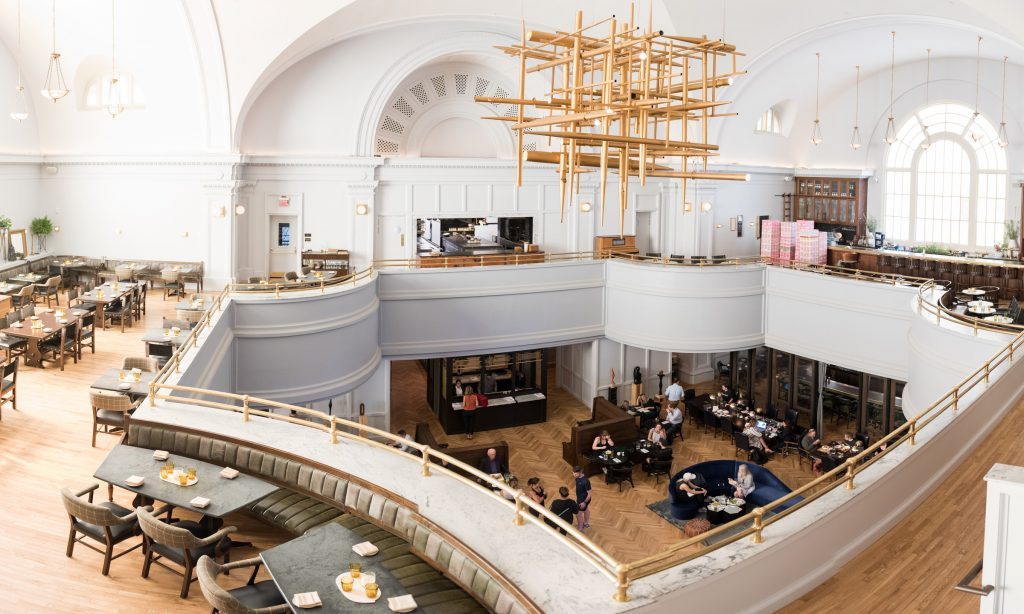 A view of Brothers and Sisters, the main lobby, and the pipe organ chandelier in the Line Hotel DC.