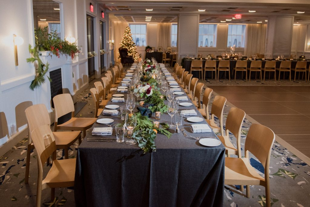 A Line Hotel DC Banneker wedding reception head table.