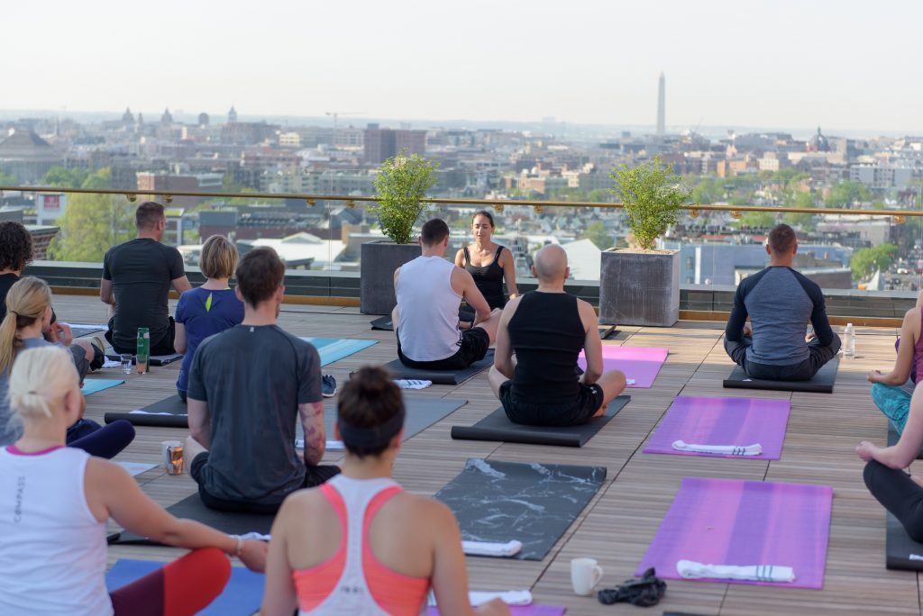 Yoga on the rooftop of the Line Hotel DC.