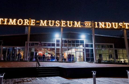 An exterior, nighttime view of the Baltimore Museum of Industry.